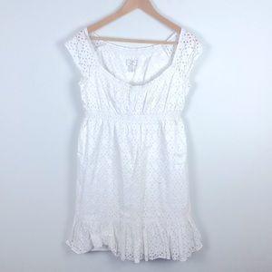 Ann Taylor Loft White Cotton Dress Size 2 Petite